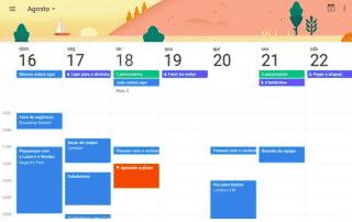 Visão principal Google Agenda