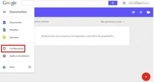 Menu do Google Docs