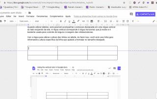 Nova régua vertical no Documentos do Google